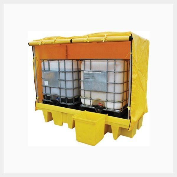 Dual IBC Spill Pallet Framed Cover